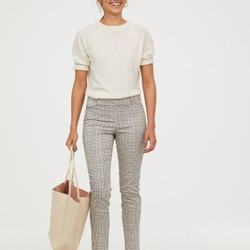 Slacks - Light beige/checked - Ladies | H&M US