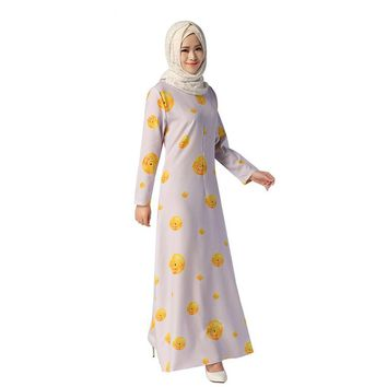 Light Purple Long Sleeve Muslim Women's Ethnic Style Abays Dress Floral Printed Loose Cute O-Neck Cotton Maxi Floor-Length Dress
