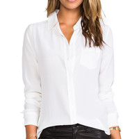 Equipment Brett Vintage Wash Blouse in White