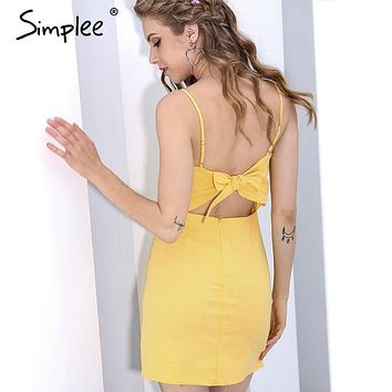 Simplee Backless 2017 beach summer dress women sundress Bow casual linen sexy dress Slim fit bodycon white short dress vestidos