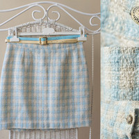 Fabulous vintage pastel blue, cream and little yellow, checkered, waisted skirt plus double belt