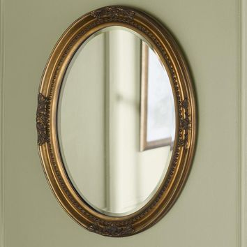 Oval Wood Antique Wall Mirror (Gold/Silver/White)
