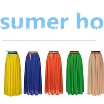 Women Double Layer Chiffon Maxi Pleated Retro Long Dress Elastic Waist Skirt Various colors FREE size = 1704372036