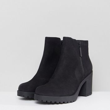 Vagabond Grace Black Leather Ankle Boots with Zip at asos.com