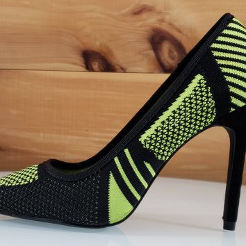 Kitana Black Lime Green Knit Pointy Toe Pump High Heel Shoe