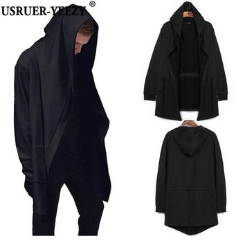 high quality Korean version of the high-street men's sweater spring and autumn long section male hooded cardigan coat cape cloak