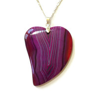 Agate Heart Necklace Stone Necklace Agate Necklace Boho Jewelry Bridesmaid Gift Large Necklace Layer Necklace Heart Jewelry Statement piece