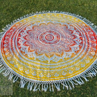 Round mandala tapestry Beach throw, roundies mandala, picnic blanket, wall tapestry, round mandala, fringed, boho beach hippie ethnic style