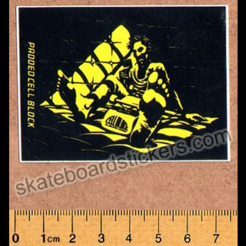 Santa Cruz Old School Skateboard Sticker - Padded Cell Block