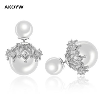 AKOYW The new lace temperament earrings simple fashion silver jewelry pearl crown earrings hollow high-grade zircon