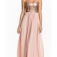 Infinite Wisdom Pink Gold Strapless Sequin Sweetheart Neck Bustier Chiffon Maxi Dress Gown