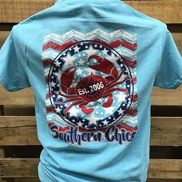 Southern Chics Stars Stripes Crab USA American Flag Girlie Bright T Shirt
