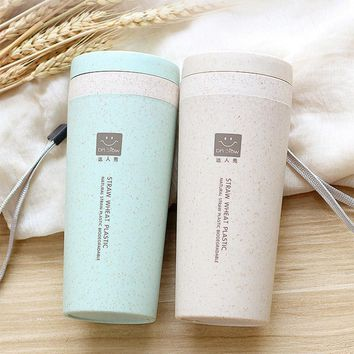 Wheat Fiber Double Layer Cup Creative Portable Hand Cups Green Coffee Drinking Cup with Lid Environmental Protection Water Cup
