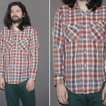 Vintage 70s LEVI'S PLAID Button Down / WESTERN Shirt, Paper Thin Long Sleeve Shirt / Blue, Red, Nude / Pointy Collar / Medium