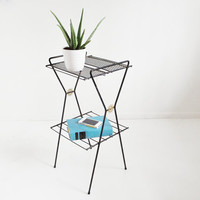 Atomic Black Wire Record Stand - Mid-Century Plant Stand / Magazine Rack