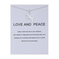 Lovely Lamb Card Alloy Clavicle Pendant Necklace  171208