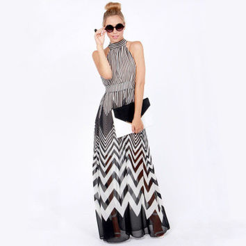 SIMPLE - Women Fashionable Chiffon Striped Halter Neck One Piece Dress a11029