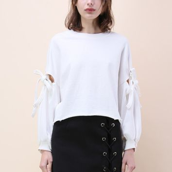 Felicitous Bowknot White Top