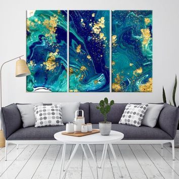 76785 - Abstract Marble Wall Art Canvas Print | Framed - Ready to Hang | Gold Marble Abstract Wall Art