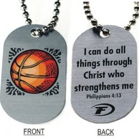 Basketball Dog Tag Necklace - I Can Do All Things Through Christ