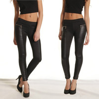 Fashion Women Leggings Leather Look Panels Elastic Waist Stretchy Skinny Pants Trousers Black G0541 = 1932861380