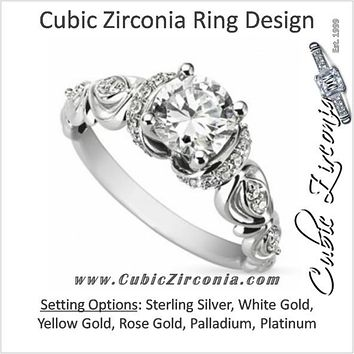 Cubic Zirconia Engagement Ring- The ________ Naming Rights 1524 (1.25 Carat Round Cut Semi-Halo with Ribbon Detail)