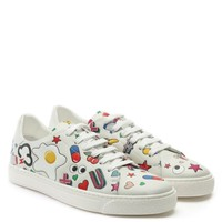 Anya Hindmarch All Over Wink White Leather Lace Up Tennis Trainers