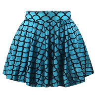 Blue Mermaid Skirt Short Circle Printed Fashion Casual Womens Skater Skirt Pleated Skirts