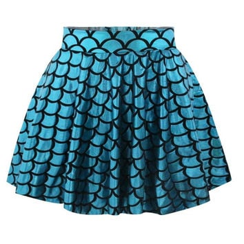Blue Mermaid Skirt Short Circle Printed Fashion Casual Womens Skater Skirt Pleated Skirts = 1946838596