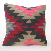 ORGANIC Shine Geometric Bright Pink Kilim Pillow, Handwoven Vintage Pillow Throw 40 x 40 Decorative Throw Pillow