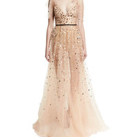 Monique Lhuillier Metallic Heart-Embellished Tulle Gown, Blush