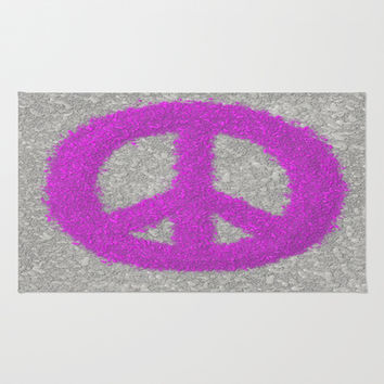 Fuchsia Splat Painted Peace Sign Area & Throw Rug by One Artsy Momma