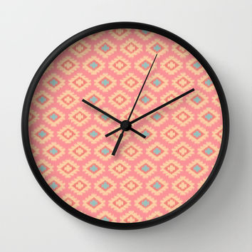 Southwestern Ikat Pattern on Soft Red Wall Clock by CandyBoxDigital