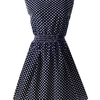 Black Polka Dot Elastic Waist Midi Dress