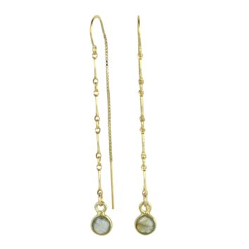 Elke Gemstone + Chain Threader Earrings in Labradorite