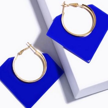 "1.75"" acrylic gold blue geo shape earrings pierced a"