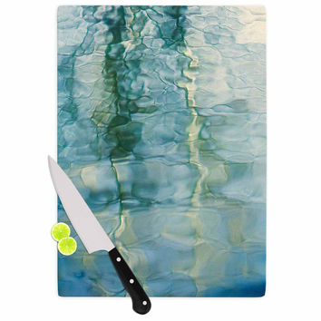 "Malia Shields ""Fluidity Series #2"" Green Teal Cutting Board"