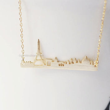 Gold Paris bar necklace, paris skyline bar necklace, city necklace, france eiffel tower, souvenir, skyline necklace, Necklace for  woman