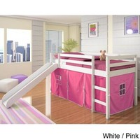 Donco Kids Twin-size Tent Loft Bed with Slide White / Pink Tent - Walmart.com
