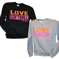 Love Softball - Orange and Pink - Crew Neck Sweatshirt