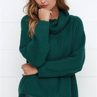 Solid Turtleneck Loose Pullover Knitting Sweaters