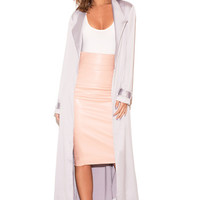 Clothing : Jackets : 'Coryn' Light Grey Silky Duster Coat