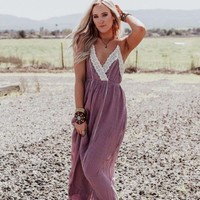 Wildwood Crochet Trim Maxi Dress - Mauve