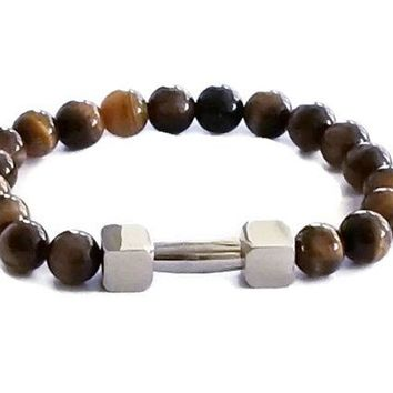 Tiger Eye Beaded Stainless Steel Bracelet