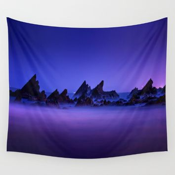 Still Waters Jagged Rocks Wall Tapestry by 2sweet4words Designs