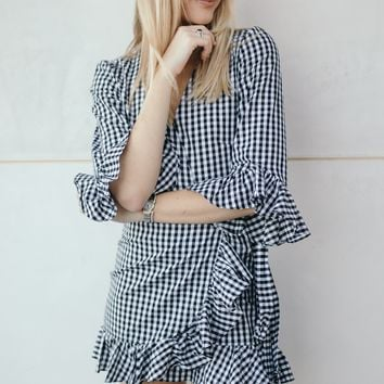 Rochelle Gingham Wrap Dress