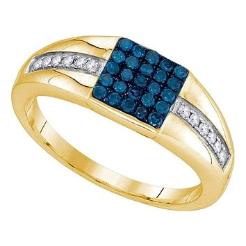 10kt Yellow Gold Mens Round Blue Color Enhanced Diamond Square Cluster Ring 1/2 Cttw - FREE Shipping (US/CAN)