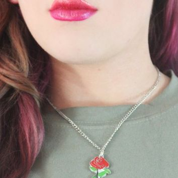 ROSE PRINCESS ENAMEL NECKLACE