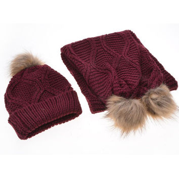 Casual Warm Knit Scarf And Hat