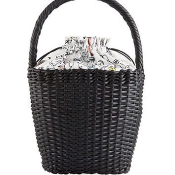 Edie Parker Lily Woven Leather Top-Handle Basket Bag